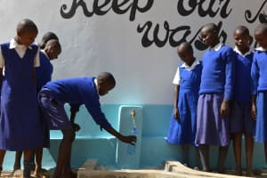 The Water Project: Kyaani Primary School -  Water Flowing