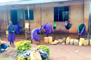 The Water Project: Munyanza Primary School -  Washing Classrooms After Class