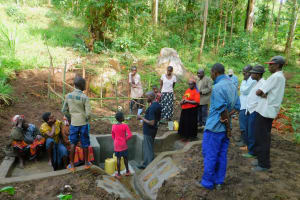 The Water Project: Samisbei Community, Isaac Rutoh Spring -  Spring Care Training