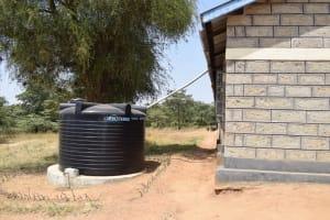 The Water Project: Kyamatula Secondary School -  Existing Plastic Rainwater Tank