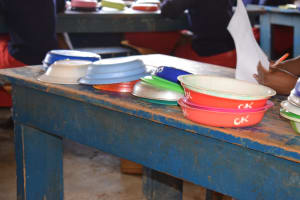 The Water Project: AIC Kyome Girls' Secondary School -  Cleaned Bowls Out To Dry