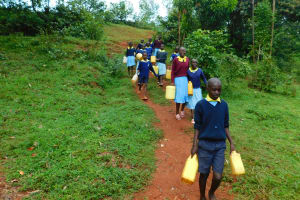 The Water Project: Hobunaka Primary School -  Going To Fetch Water