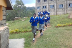 The Water Project: Dr. Gimose Secondary School -  Rush To Latrines During Break