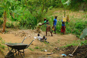 The Water Project: Bukhakunga Community, Khayati Spring -  Women Delivering Materials To The Construction Site