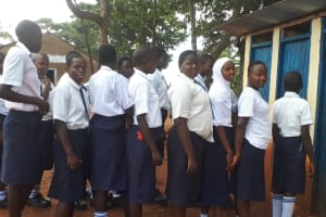 The Water Project: Ikumba Secondary School -  Girls Lined Up At Latrines