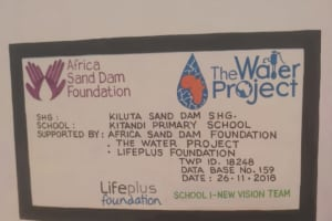 The Water Project: Kitandi Primary School -  Plaque