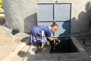 The Water Project: Shikusa Primary School -  Water Flowing