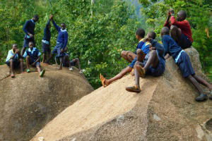 The Water Project: Hobunaka Primary School -  Children Playing On Rocks