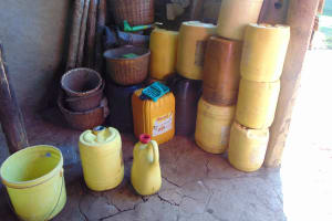 The Water Project: Shamiloli Community, Kwasasala Spring -  Water Containers