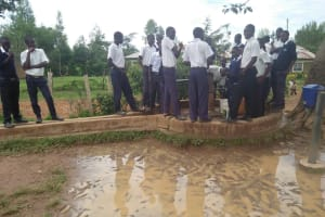 The Water Project: Bululwe Secondary School -  Students At The Primary School Well