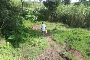 The Water Project: Kambiri Community, Sachita Spring -  Going To Fetch Water