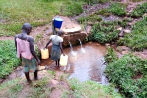 The Water Project: Womulalu Special School -  Getting Water From The Community Spring