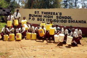 The Water Project: St. Theresa's Bumini High School -  Students With Their Jerrycans