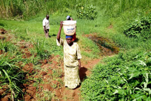 The Water Project: Mushina Community, Shikuku Spring -  Carrying Water