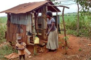 The Water Project: Kikube Nyabubale Community -  Latrine And Handwashing Station