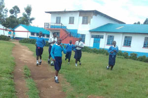 The Water Project: Kamimei Secondary School -  Students Rushing To Use The Latrines During Break