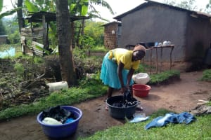 The Water Project: Shikangania Community, Abungana Spring -  Doing Laundry With Spring Water