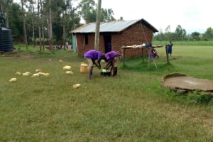 The Water Project: Chiliva Primary School -  Doing Dishes By School Kitchen