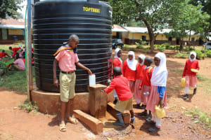The Water Project: Kakamega Muslim Primary School -  Rationed Plastic Tank Water