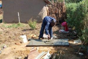 The Water Project: Lukova Community, Wasike Spring -  Sanitation Platform Construction