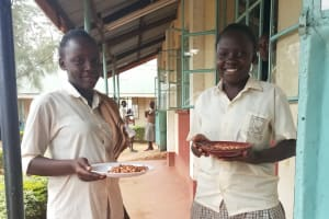 The Water Project: Kimangeti Girls' Secondary School -  Eating Beans During Lunch Break