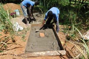 The Water Project: Bukhaywa Community, Asumani Spring -  Sanitation Platform Construction