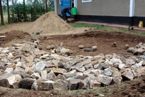 The Water Project: Ebubere Mixed Secondary School -  Tank Foundation Construction