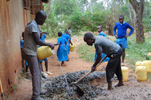 The Water Project: Kegoye Primary School -  Mixing Cement