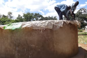 The Water Project: Shibinga Primary School -  Working On The Tank Dome