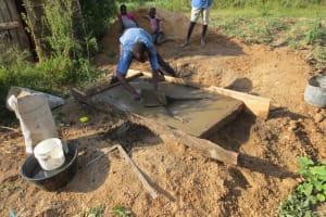 The Water Project: Mukangu Community, Lihungu Spring -  Sanitation Platform Construction