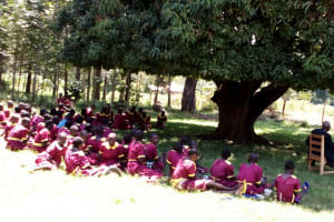 The Water Project: Nanganda Primary School -  Pupils Eating Lunch Under A Mango Tree