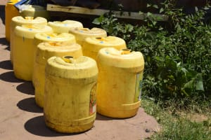 The Water Project: Kyamwao Community -  Lineup Of Water Containers