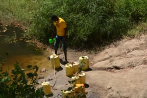 The Water Project: Wamwathi Community A -  Fetching Water At Open Source