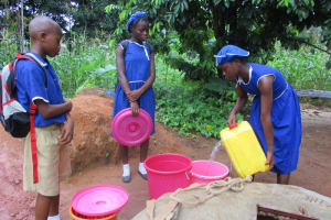 The Water Project: Mahera, SLMB Primary School -  Students Fetch Water