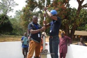 The Water Project: Lungi, Tonkoya Village -  Pump Installation