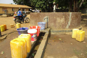 The Water Project: Lungi, Tintafor, St. Lucia Well -  Fetching Water