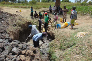 The Water Project: Sambuli Community, Nechesa Spring -  Excavating The Spring