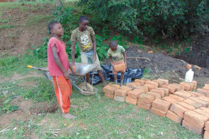 The Water Project: Kambiri Community, Sachita Spring -  Delivering Bricks To The Site