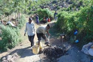 The Water Project: Imbinga Community, Arunga Spring -  Mixing Cement
