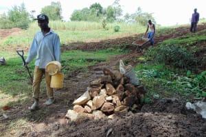 The Water Project: Kambiri Community, Sachita Spring -  Construction