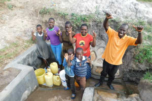 The Water Project: Shihingo Community, Mangweli Spring -  Thumbs Up For Clean Water