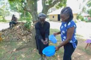 The Water Project: Eshiakhulo Community, Kweyu Spring -  Practicing Handwashing