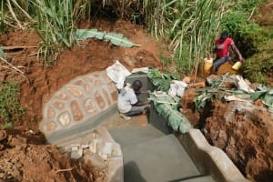 The Water Project: Shisere Community, Francis Atema Spring -  Taking Measurements