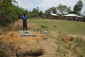 The Water Project: Mukhuyu Community, Kwawanzala Spring -  New Sanitation Platform