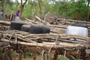 The Water Project: Kaketi Community -  Dishes Drying On Rack