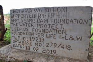 The Water Project: Kithoni Community A -  Plaque