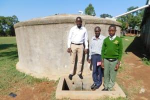 The Water Project: Bushili Secondary School -  Field Officer Jonathan Deputy Principal Titus Wanyama And Student Julius Oyemba