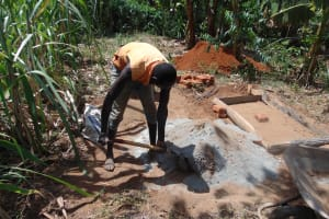 The Water Project: Musango Community, Emufutu Spring -  Sanitation Platform Construction