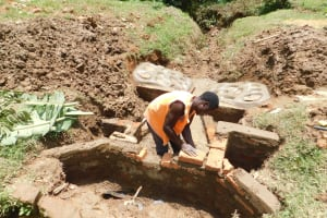 The Water Project: Wajumba Community, Wajumba Spring -  Bricking