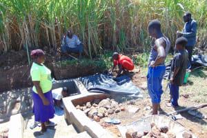 The Water Project: Burachu B Community, Namukhuvichi Spring -  Backfilling